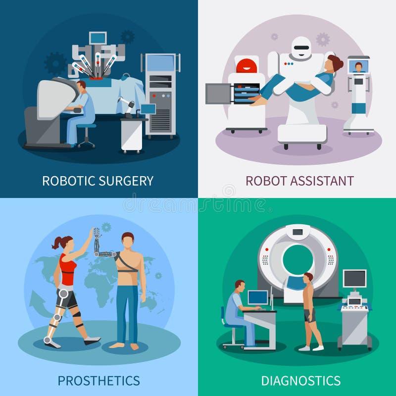 Бионическая идея проекта 2x2 с робототехническим оборудованием бесплатная иллюстрация