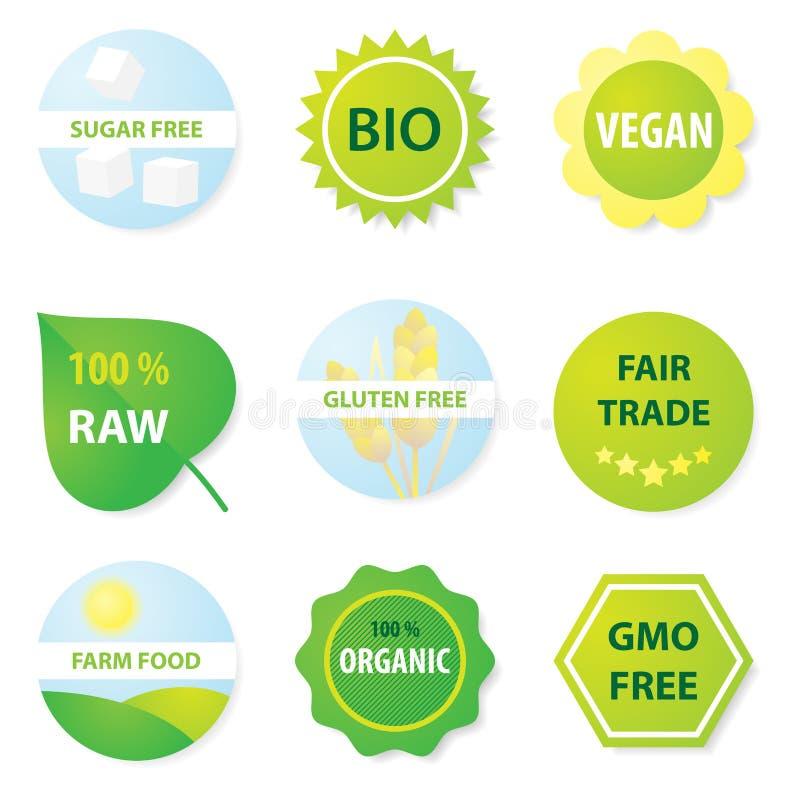 Био и здоровые ярлыки еды иллюстрация вектора