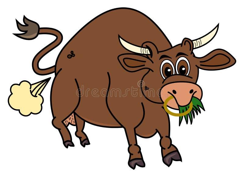 Био коричневый бык который ест траву иллюстрация вектора