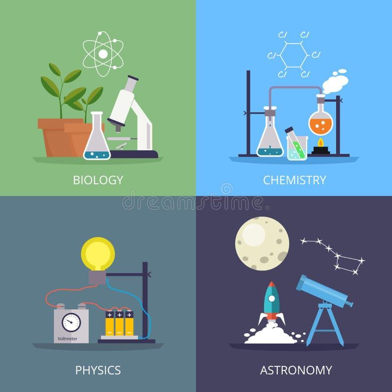 Биология и физика, химия и астрономия конструируют элемент в плоском стиле иллюстрация вектора