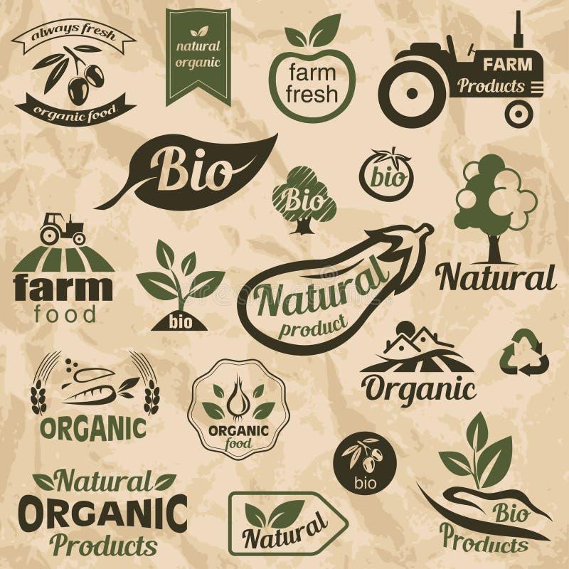 Био, органические, естественные ярлыки еды и эмблемы бесплатная иллюстрация