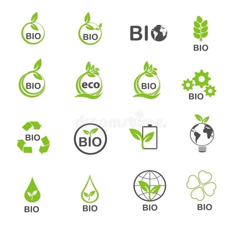 Био экологичность в зеленых значках окружающей среды установила вектор иллюстрация вектора