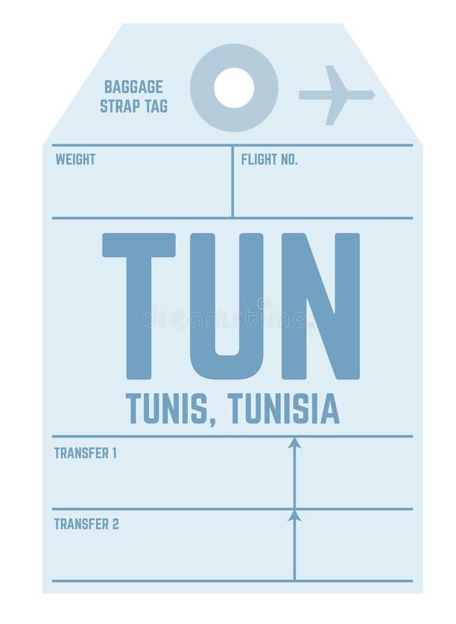 Бирка багажа авиапорта Туниса иллюстрация штока