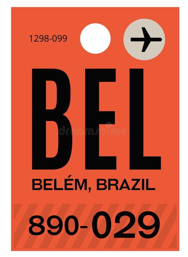 Бирка багажа авиапорта Belem иллюстрация штока