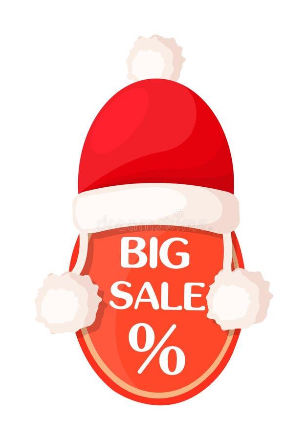 Бирка большой продажи овальная с знаком процентов и шляпой Санты иллюстрация штока