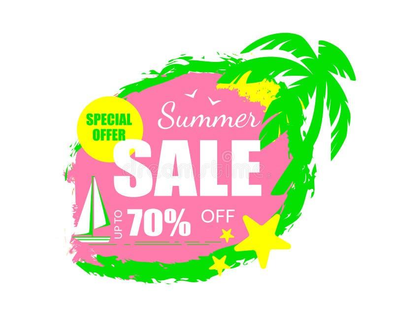 Бирка особенного предложения продажи лета, стиль значка Grungy иллюстрация вектора