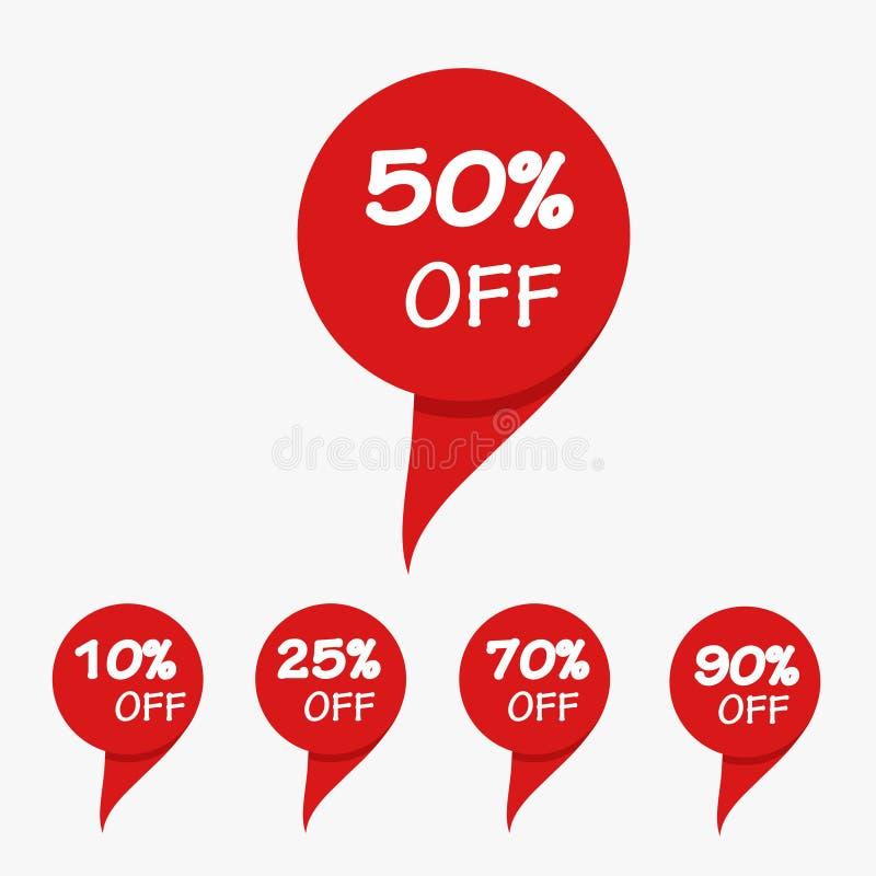 Бирка продажи специального предложения красная изолировала иллюстрацию вектора Discoun иллюстрация вектора