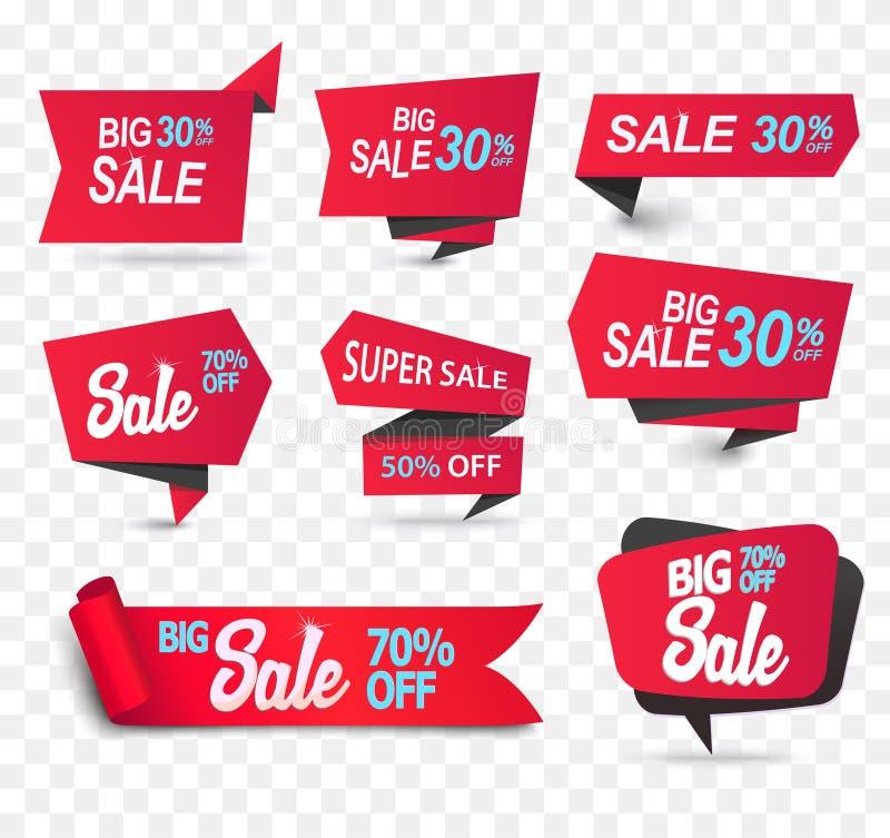 Бирка продукта магазина продажи, ярлык или плакат продажи, реалистическое бумажное знамя скидки иллюстрация вектора