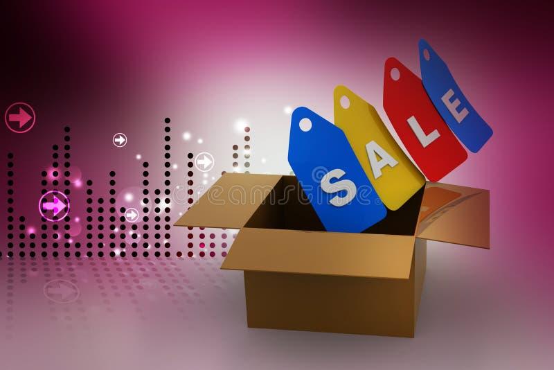 Бирка продаж с коробкой иллюстрация вектора