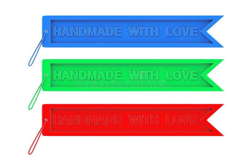 Бирка ремесла цвета с Handmade с знаком и веревочкой влюбленности 3d представляют иллюстрация штока