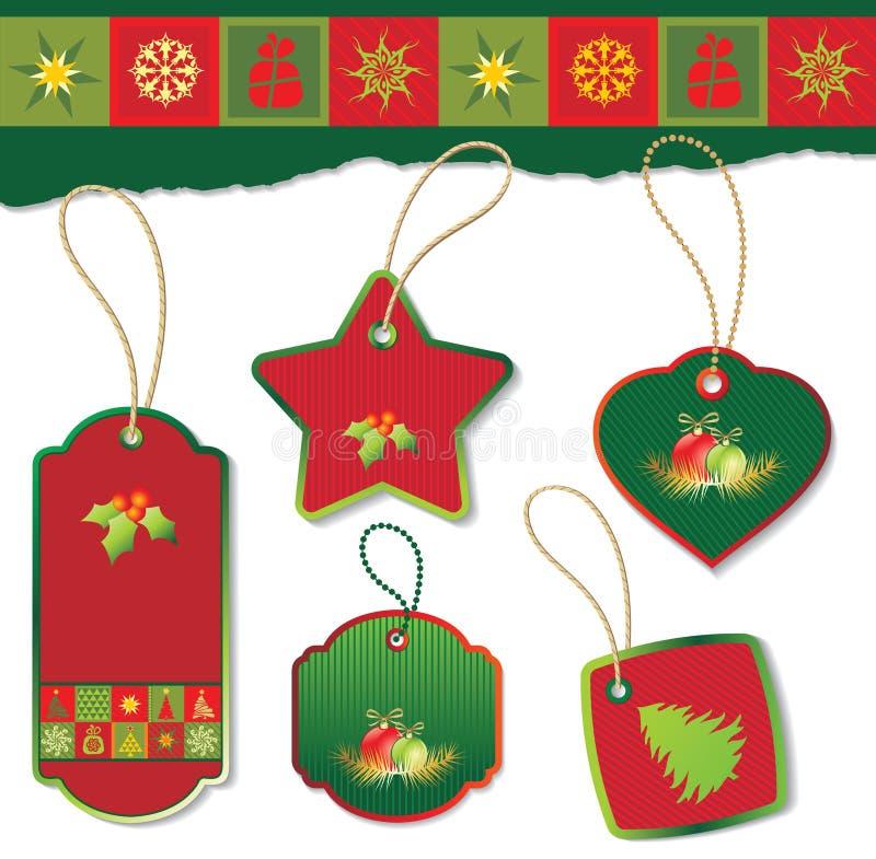 бирка рождества установленная иллюстрация вектора
