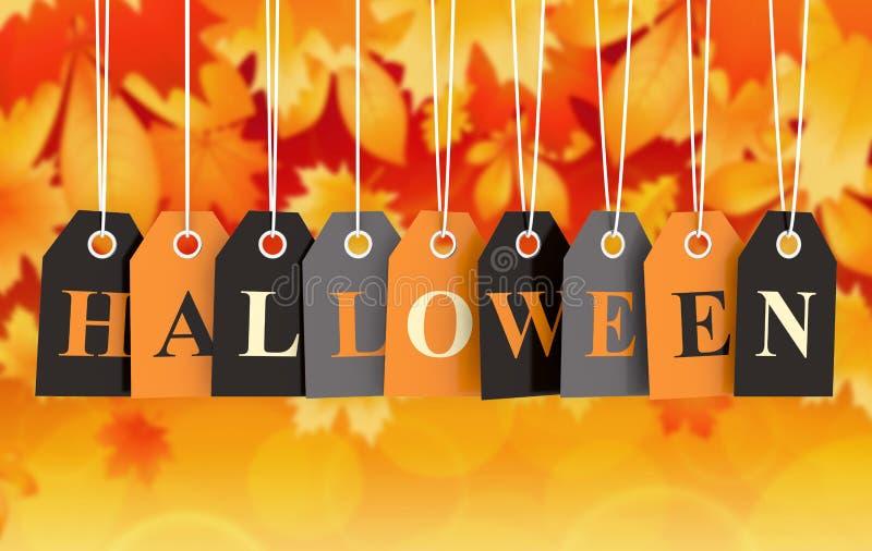 Бирка хеллоуина на покрашенных ярлыках смертной казни через повешение иллюстрация штока