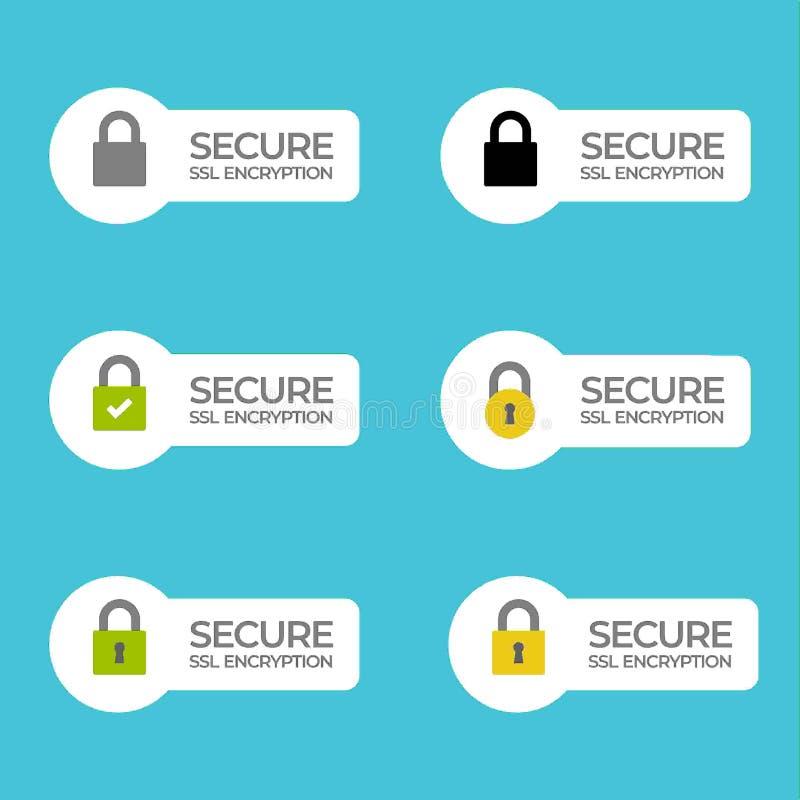 Бирка /button /bar шифрования SSL безопасная иллюстрация вектора