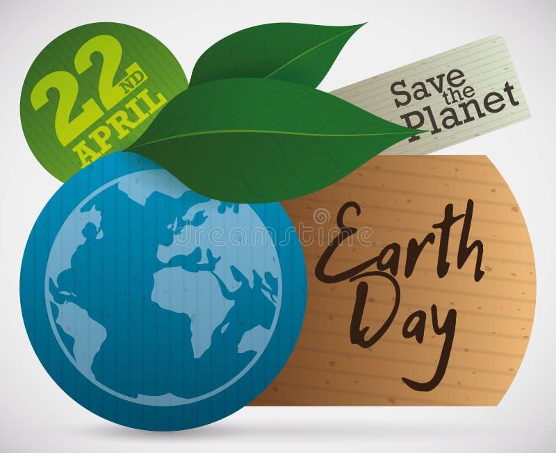 Бирки и листья Eco для торжества дня земли, иллюстрации вектора иллюстрация штока
