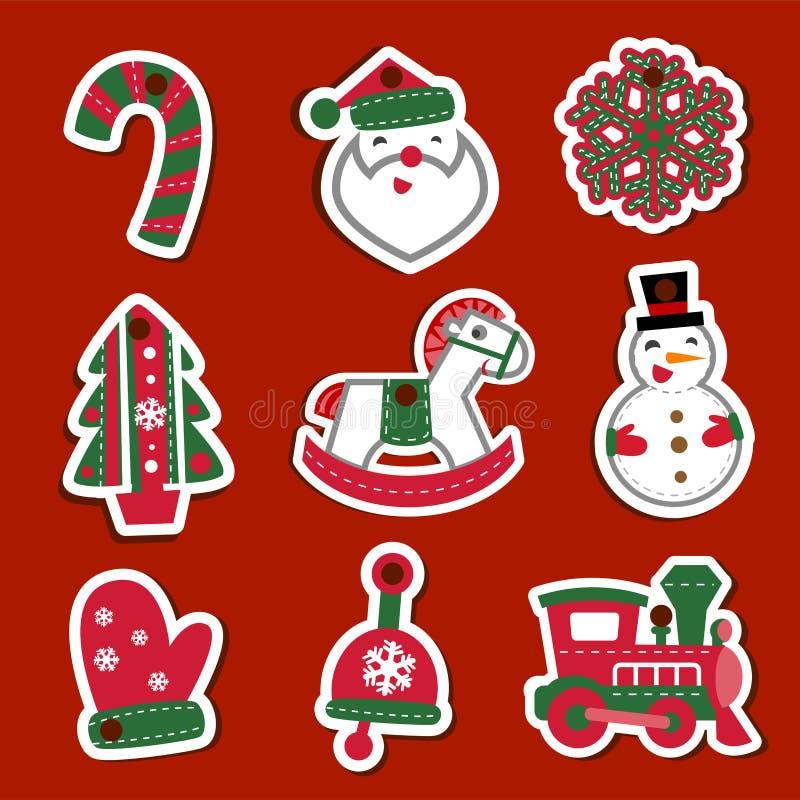 Бирки или стикеры рождества вектора для подарков иллюстрация штока