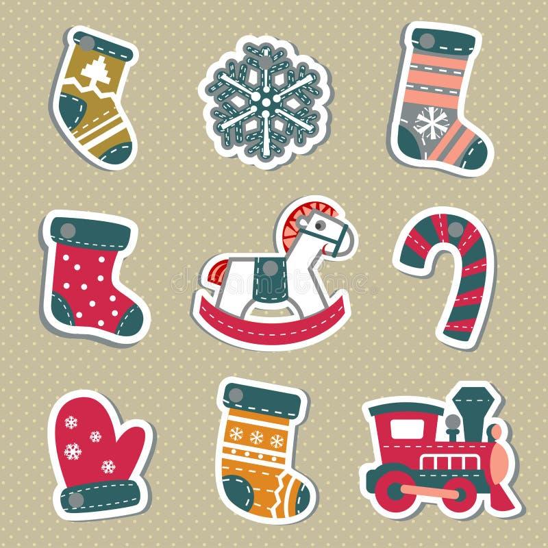 Бирки или стикеры рождества вектора для подарков иллюстрация вектора