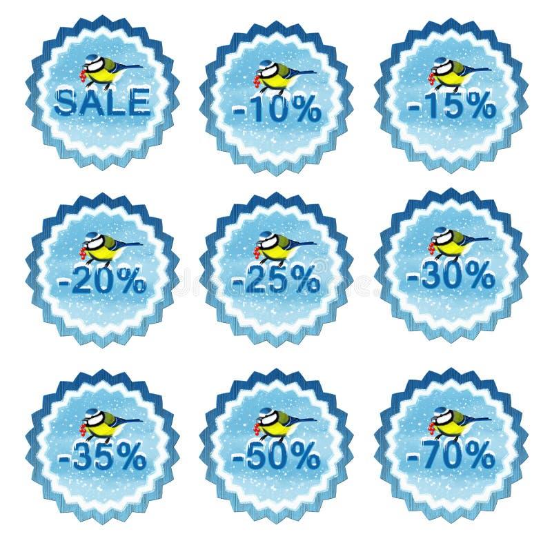 Бирки продажи зимы с chickadee иллюстрация штока