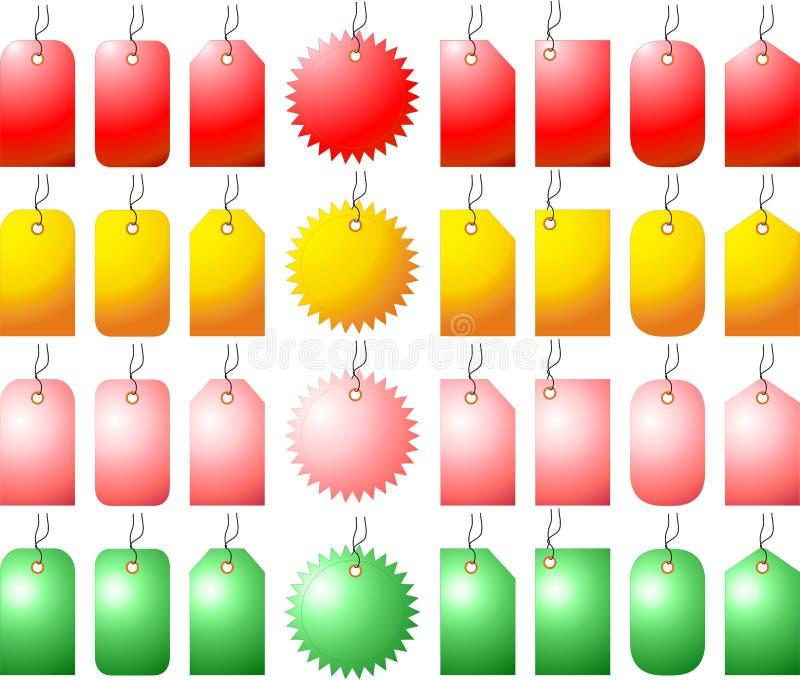 бирки различного цены установленные стоковая фотография rf