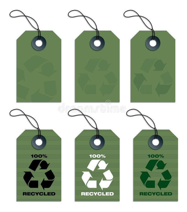 бирки рециркулированные зеленым цветом иллюстрация вектора