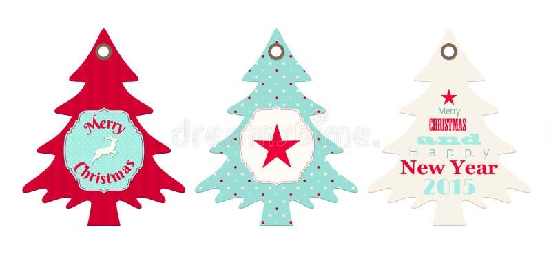 3 бирки рождества в форме дерева бесплатная иллюстрация