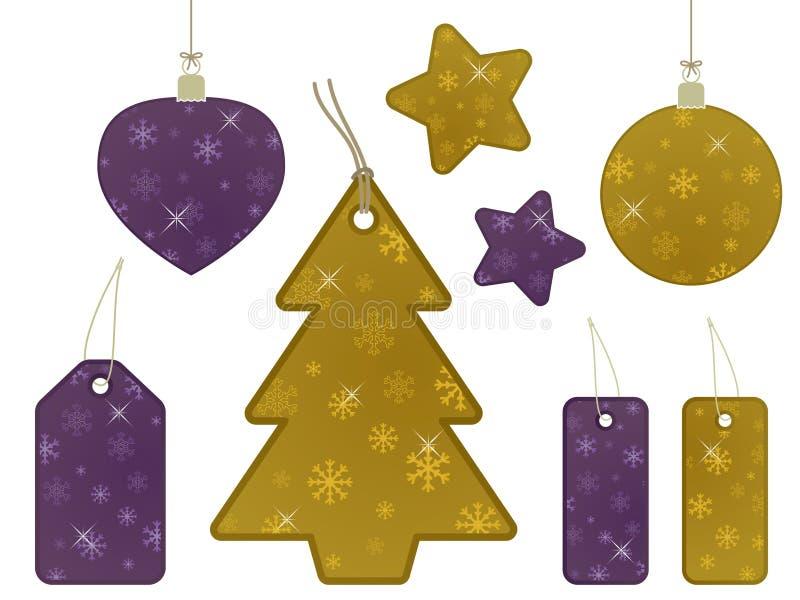 бирки снежинки золота подарка пурпуровые иллюстрация штока