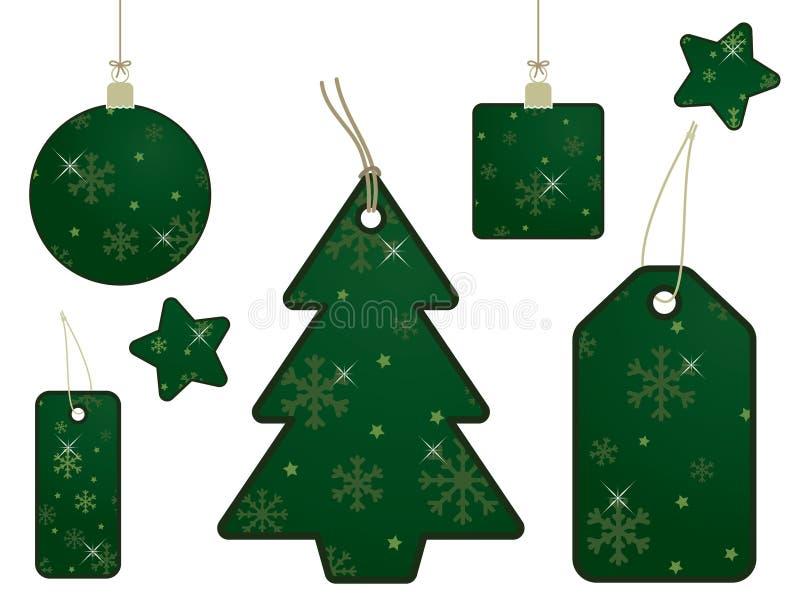 бирки снежинки подарка зеленые бесплатная иллюстрация