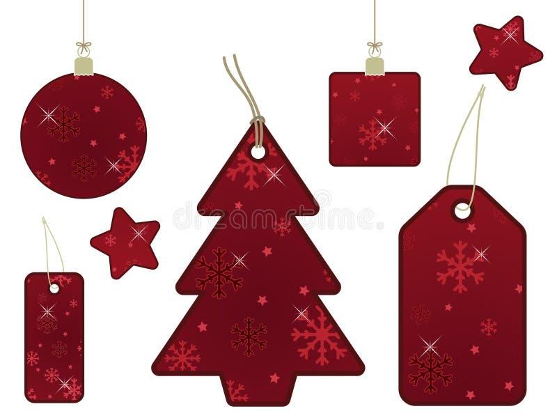 бирки снежинки подарка красные бесплатная иллюстрация