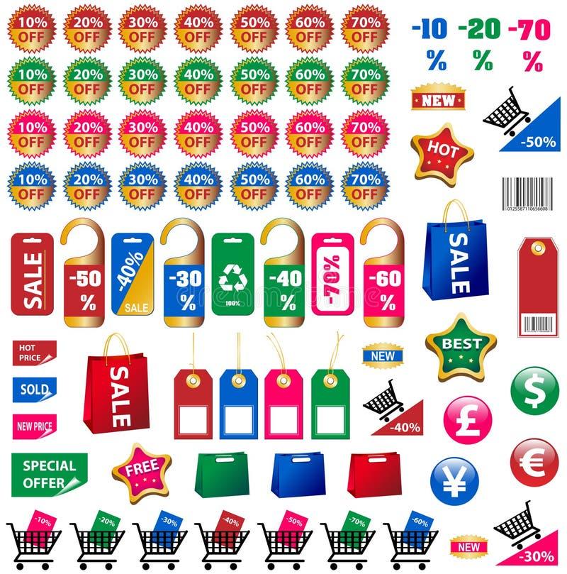 бирки стикеров большого цены установленные иллюстрация штока