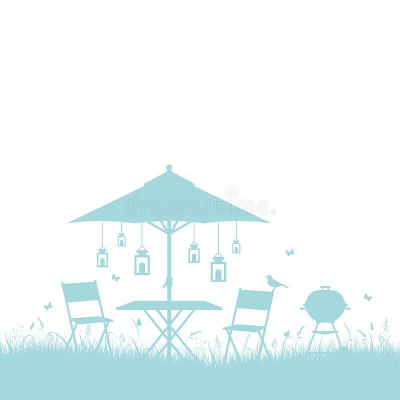 Бирюза предпосылки границы силуэта барбекю сада лета горизонтальная иллюстрация штока