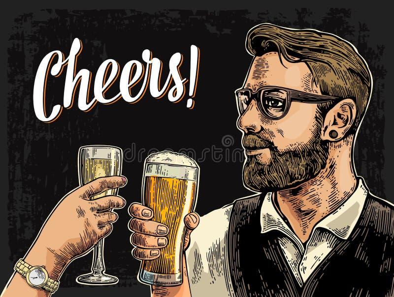Битник держа стекло пива и clinking рука женщины с шампанским иллюстрация штока