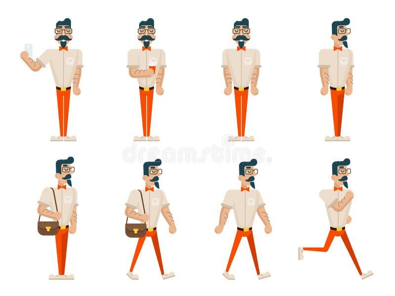 Битник идиота битника в различной значках характера бизнесмена шаржа прогулки кофе мобильного телефона представлений побежали сто бесплатная иллюстрация