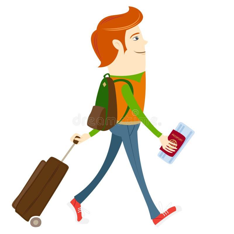 Битник-путешественник идя и держа пасспорт, билет и suitca иллюстрация вектора