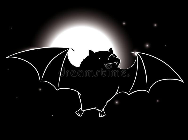 Бить летание в звездной ночи с полнолунием бесплатная иллюстрация