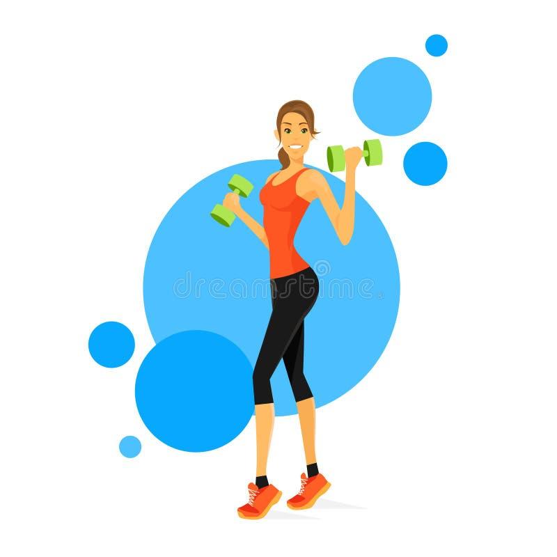 Бицепс выставки женщины спорта Muscles тренер фитнеса иллюстрация штока