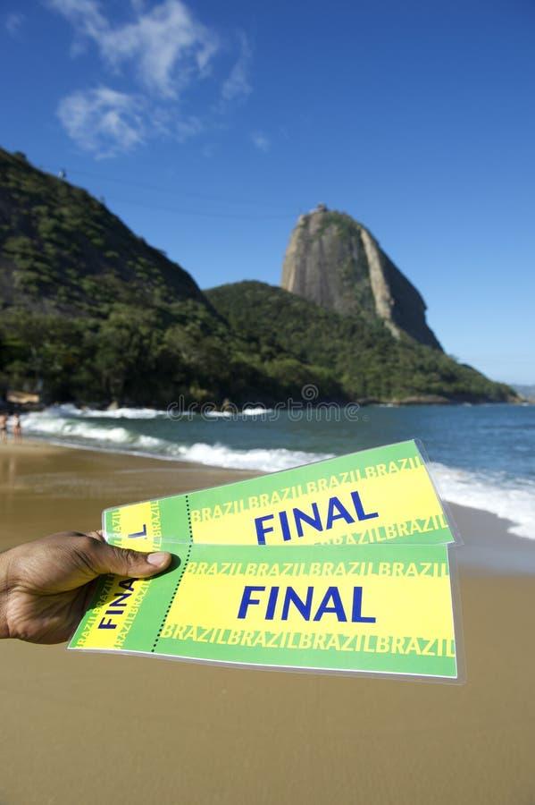 Билеты Бразилии окончательные на красном пляже Sugarloaf Рио-де-Жанейро стоковое фото rf