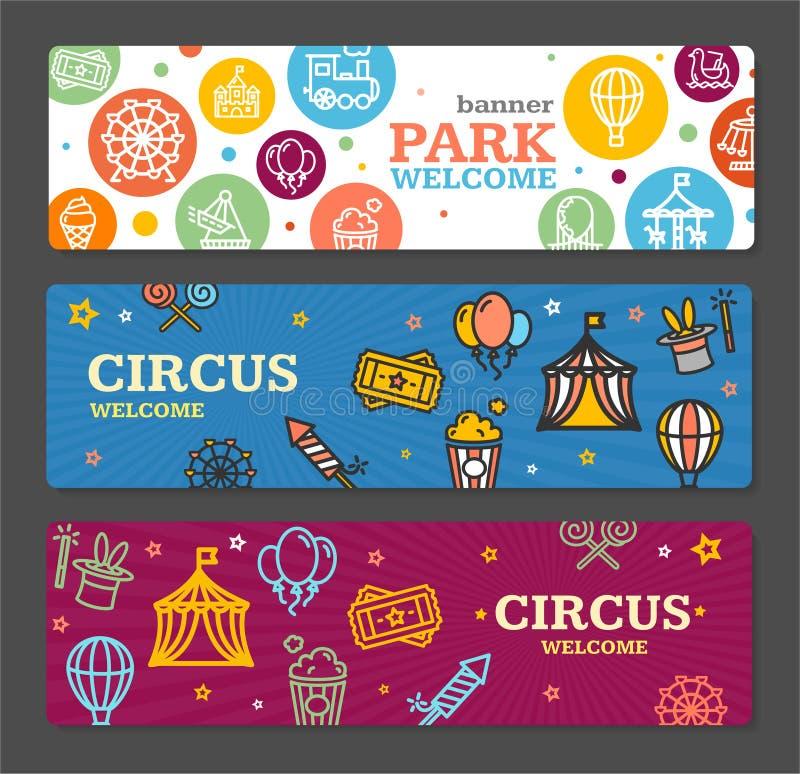 Билеты карточки знамени парка атракционов цирка вектор иллюстрация штока