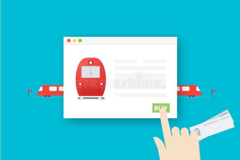 Билеты на поезд онлайн Схематическая плоская иллюстрация вектора Абстрактная рука над браузером иллюстрация штока