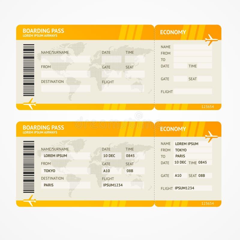 Билеты посадочного талона авиакомпании вектора современные бесплатная иллюстрация