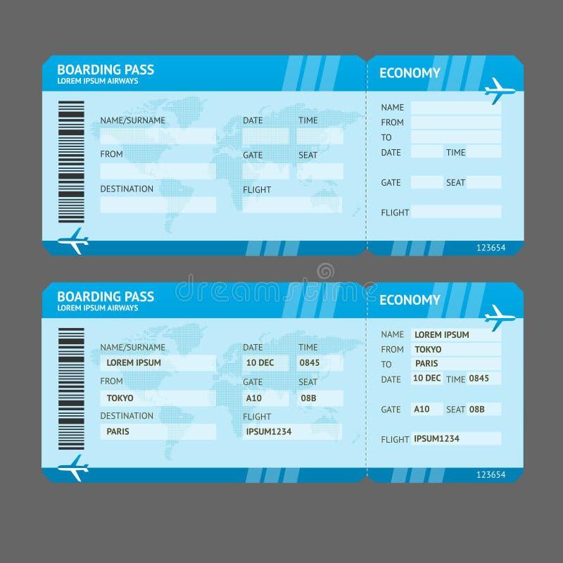 Билеты посадочного талона авиакомпании вектора современные иллюстрация вектора