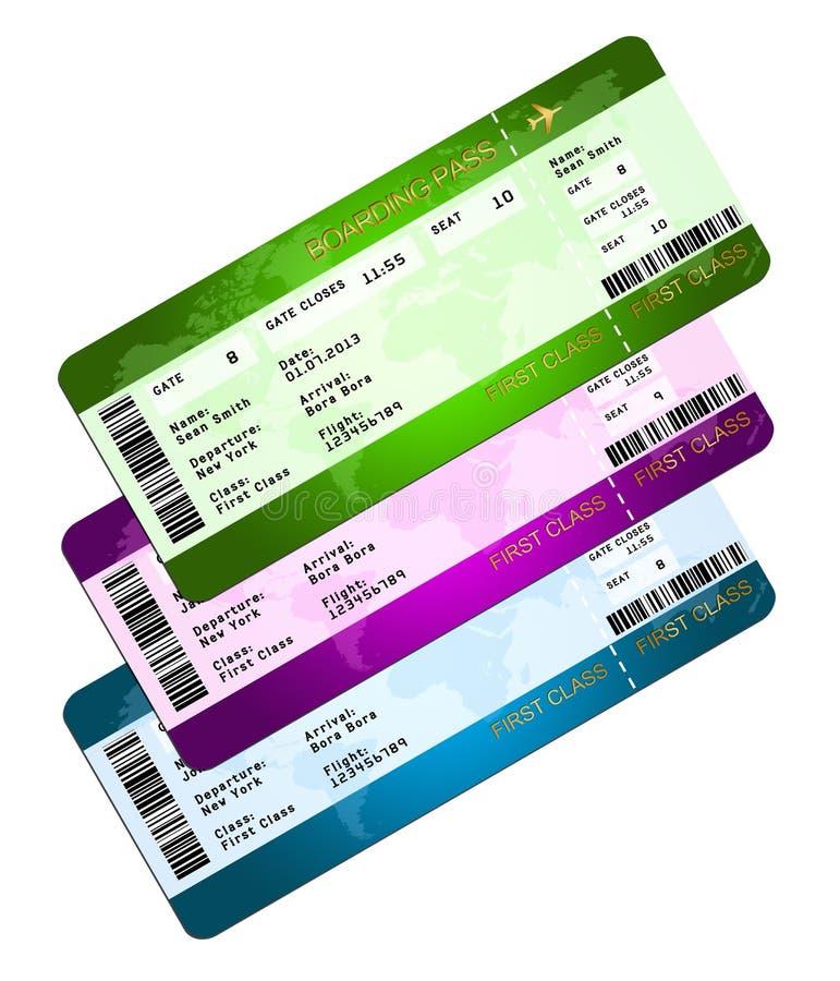Билеты посадочного талона изолированные над белизной бесплатная иллюстрация