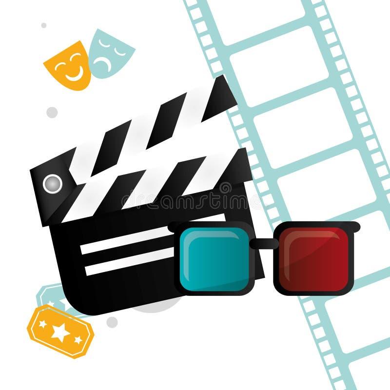 Билеты стекел колотушки 3d кино и эмблема filmstrip бесплатная иллюстрация