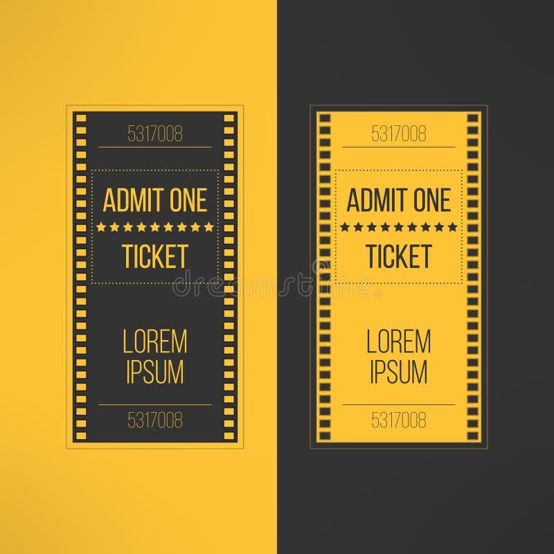 Билет кино входа в стиле видеозаписи фильма впускают иллюстрация вектора