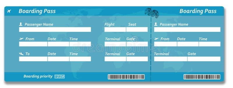 билет пропуска восхождения на борт авиакомпании пустой иллюстрация вектора