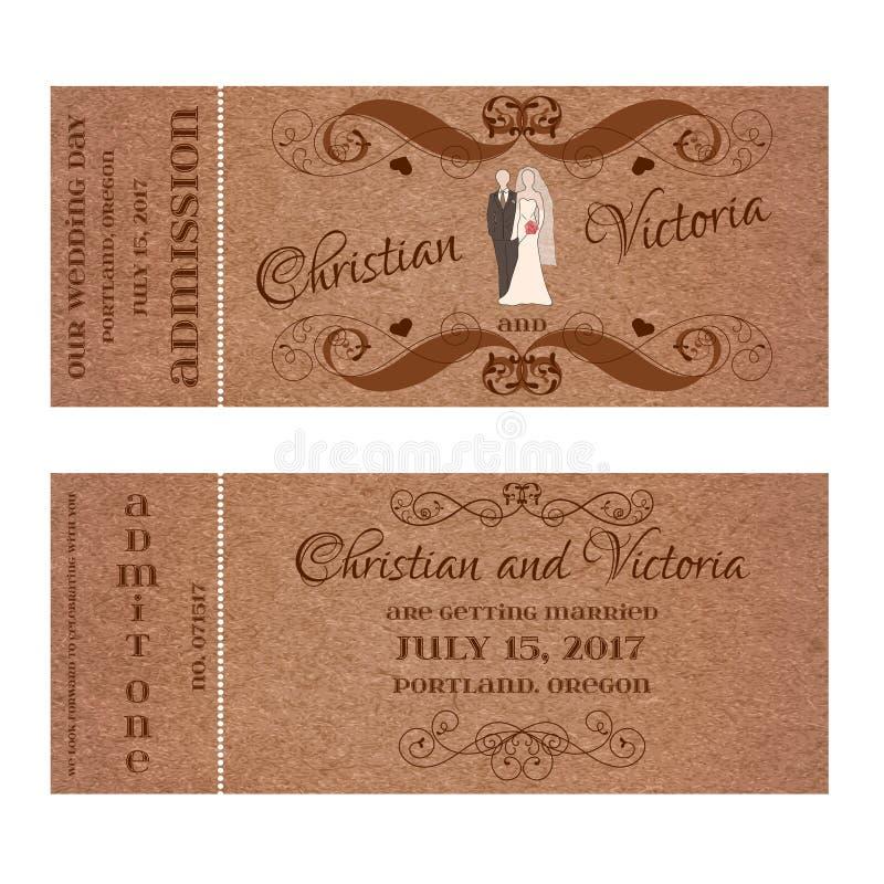 Билет для Wedding приглашения с силуэтами пастели жениха и невеста иллюстрация штока