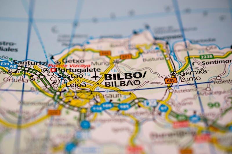 Бильбао на карте стоковое изображение rf