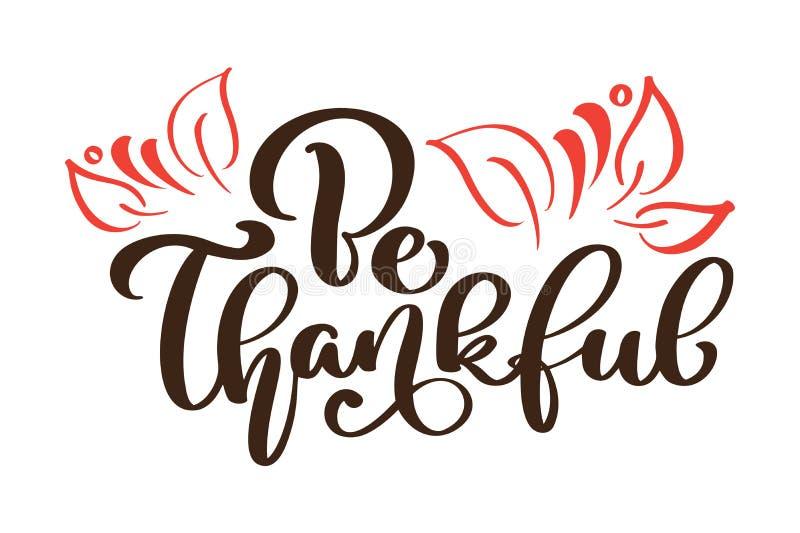 Благодарная спасибо поздравительная открытка Текст каллиграфии и оформление листьев осени Нарисованная рукой печать футболки приг бесплатная иллюстрация