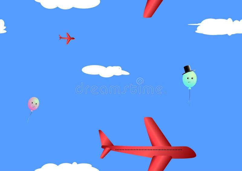 Благоустраивайте самолет на голубом небе с предпосылкой облаков и красочных воздушных шаров эмоции безшовной иллюстрация вектора