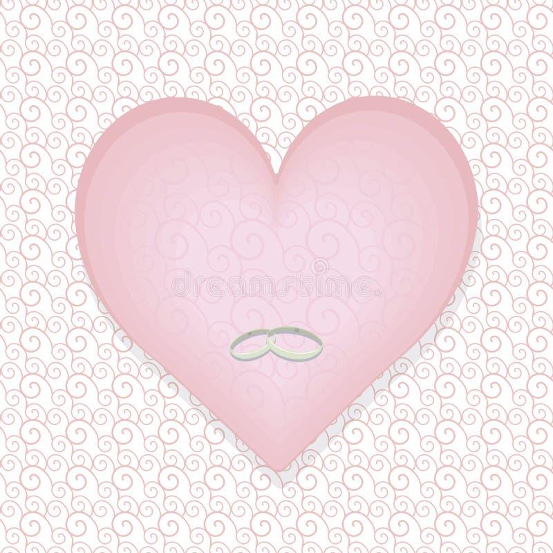 Бледное сердце пастельного пинка с картиной с серебряными тонкими обручальными кольцами на белизне сделало по образцу предпосылку иллюстрация штока