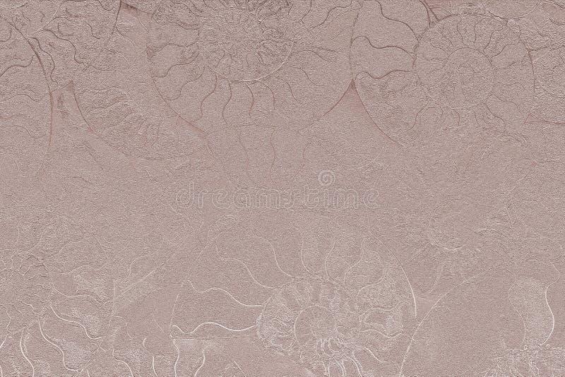 Бледный - розовый nacreous цвет абстрактной предпосылки ископаемых аммонитов, декоративных обоев жемчуга окаменелых раковин стоковое изображение