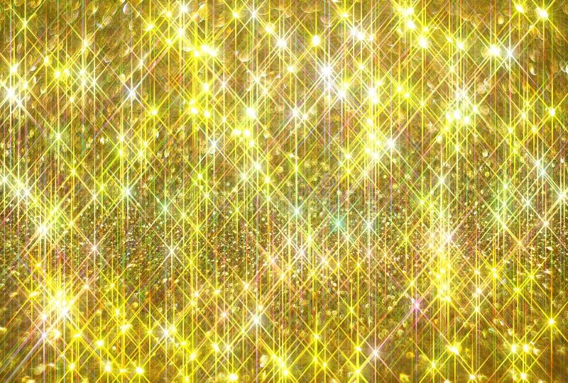 Блеск диаманта на золотой предпосылке иллюстрация вектора